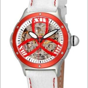 Stuhrling Original Red with Wite Leather Watch